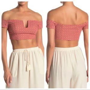 FREE PEOPLE Lucky Now Off The Shoulder Crop Top